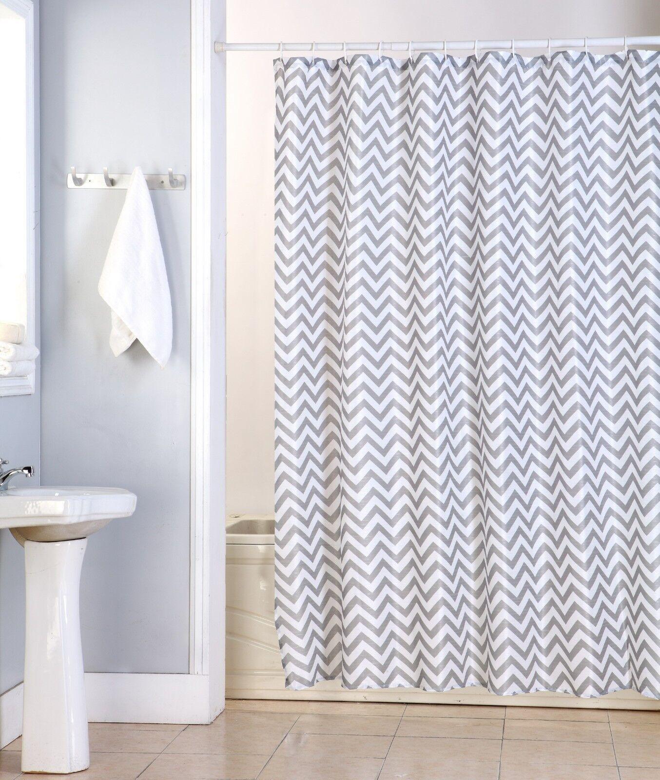 Nikki fabric shower curtain zig zag chevron wave printed for Zig zag bathroom decor