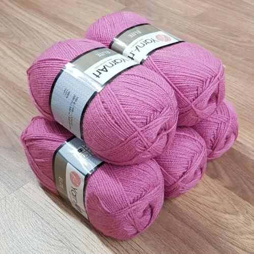 Yarnart Elite Doble Hilo De Ganchillo 5 X 100g Rosa//Púrpura 849 Acrílico