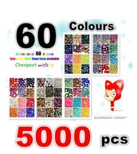 60-COLOURS-PACK-x-5000-RESIN-FLAT-BACK-RHINESTONES-DIAMANTE-CRAFT-GEMS-3-4-5-6MM