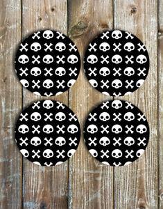 Skulls and Crossbones Coasters Set of 4 Non Slip Neoprene