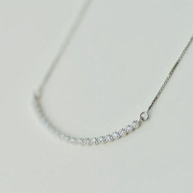 925 Sterling Silver Simple Zircon Line Elegant Necklace 281
