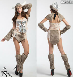 Image is loading Halloween-Girl-Furry-Viking-Deluxe -Warrior-Cosplay-Carnival-  sc 1 st  eBay & Halloween Girl Furry Viking Deluxe Warrior Cosplay Carnival Party ...