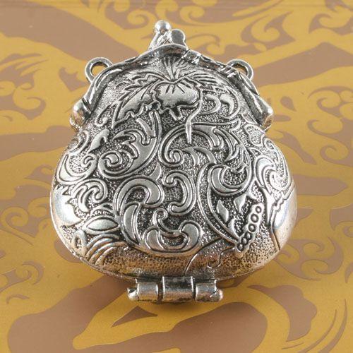 1pcs Tibetan silver two holes flower locket charm G1708