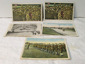 5 x WWI U.S. Army  Post Cards  - Post Marks with 2 Cents Stamps