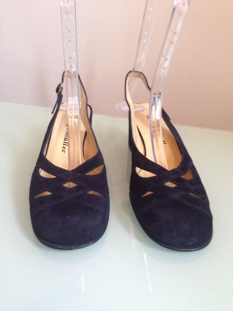 Bettye Muller Suede Navy Round Toe Toe Toe Mules, Size 10 a043e6