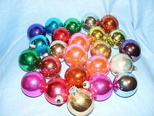 Selection Of 24 Glass Christmas Tree Decoration Baubles Ornaments Coloured