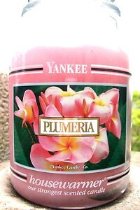 "Yankee Candle Retired Black Band ""PLUMERIA"" Large 22 oz.~WHITE LABEL~NEW"