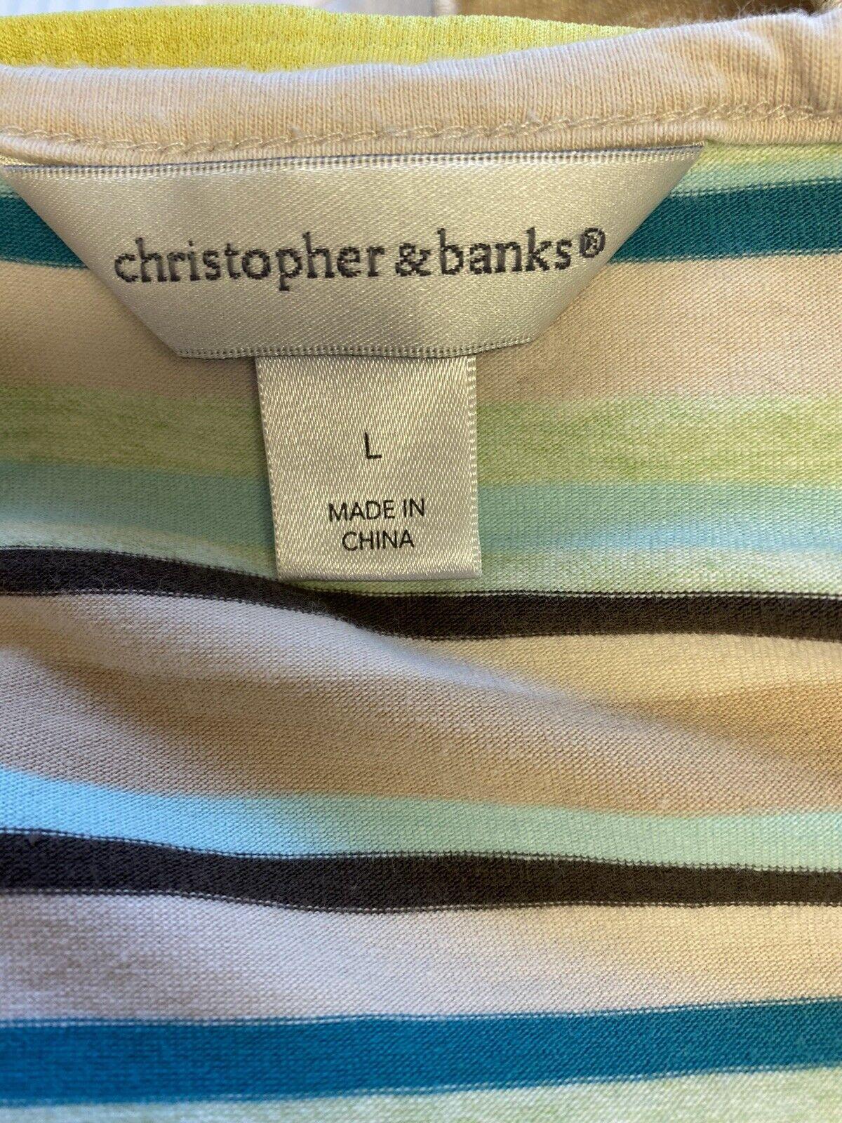 Christopher & Banks Women's Large Striped Short S… - image 6