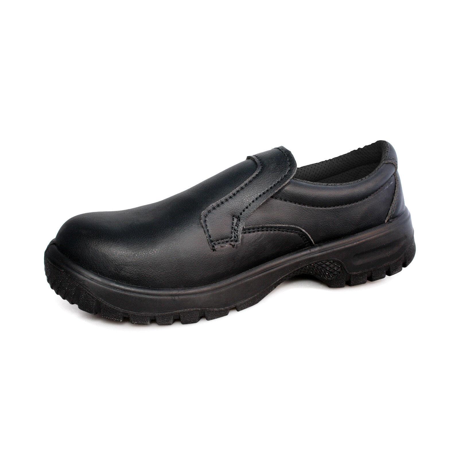 Agarre Confort Mocasines para hombre de seguridad de microfibra Divisor ligero Zapato Negro