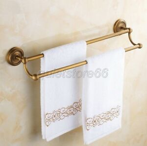 Wall-Mounted-Antique-Brass-Bathroom-Towel-Rack-Holder-Double-Bars-qba093
