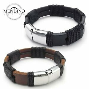 """Men/'s Braided Cuff Cord Magnetic Black Stainless Steel Leather Bracelet 8.5/""""//9/"""""""