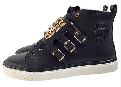 Athletic Shoes Symbol Of The Brand Bnib Womens Designer Hermes Lennox Black/gold Fashion Trainers Rare Uk6 39