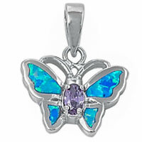 Blue Opal Butterfly With Amethyst .925 Sterling Silver Pendant on sale
