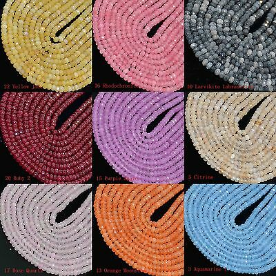 """2x3mm Multicolor Faceted Agate Roundlle Loose Beads 16"""""""