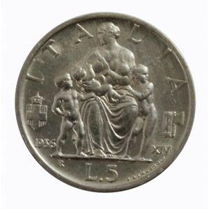 1936-Royaume-Italie-Monnaie-Livres-5-Empire-Famille-Vitt-Em-III-Argent-MF60790