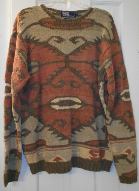 Vtg Polo Ralph Lauren Cotton Silk Linen Native American Indian Navajo Sweater~L