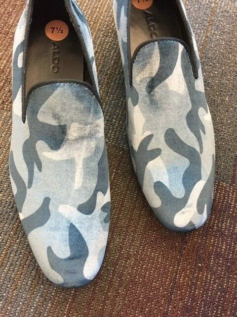 MENS FORMAL DRESS SHOES ALDO 7.5 CAMO blueE SLIP ON