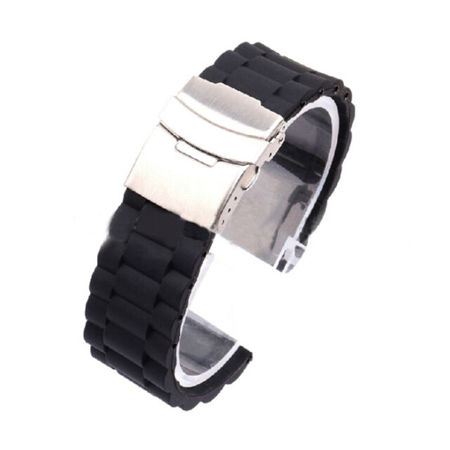 Mens Silicone Rubber Watch Strap Band Waterproof with Deployment Clasp Ornate