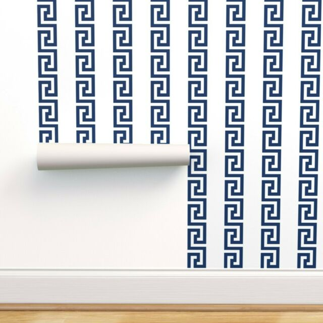 Removable Water-Activated Wallpaper Greek Key Blue White Modern Home Stripe And