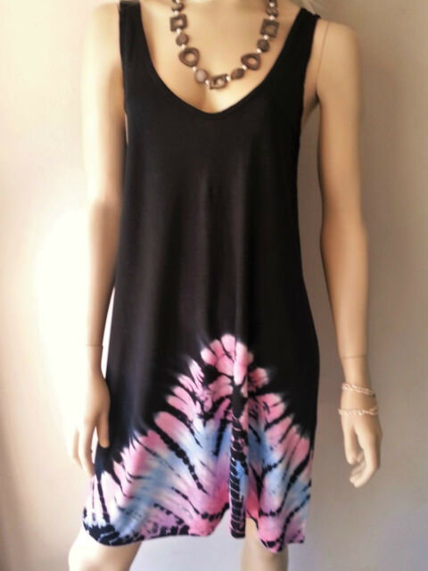 WOMENS BALI TIE DYE T-SHIRT SINGLET SUMMER DRESS BEACH SUN COVERUP SIZE XS S M
