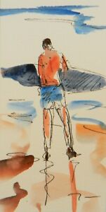 JOSE-TRUJILLO-ORIGINAL-Watercolor-Painting-3x6-Surfer-Figure-Beach-Ocean-Surfing