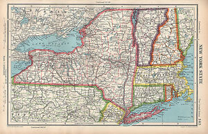 Details about 1952 MAP ~ UNITED STATES ~ NEW YORK STATE LONG ISLAND  CONNECTICUT VERMONT