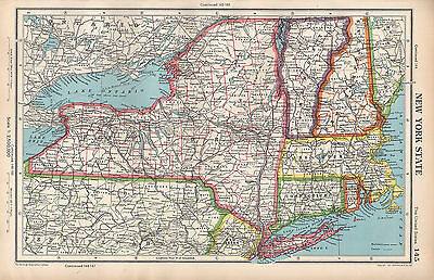 Map Of New York Vermont Border.1952 Map United States New York State Long Island Connecticut