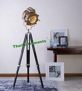 Designer Antique Brass Nautical Spot Light Tripod Floor Lamps Decor