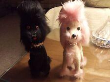 Vintage 50s Jerry Elsner Black & Pink Poodle Dogs Sawdust Filled Made in Japan