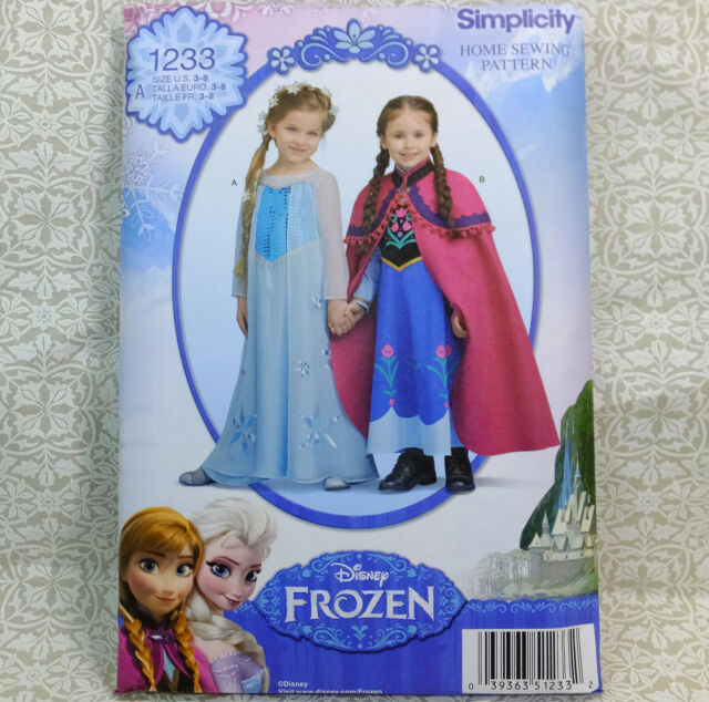 New Pattern 1233 Doll Clothes Frozen Costumes for Child sizes 3-8