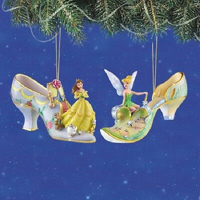 Disney's Once Upon a Slipper Ornaments - Tinker Bell and Belle Figures set 2