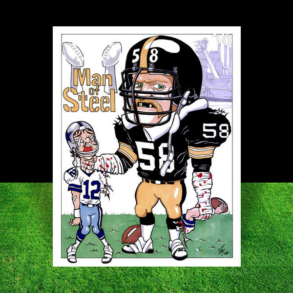 ff2e87d02 JACK LAMBERT Pittsburgh Steelers Super Bowl POSTER ART the vintage Steel  Curtain