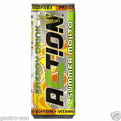 Action Energy Drinks Summer Mojito 250 ml Koffeein Vitamin kein Dosen pfand 24 x