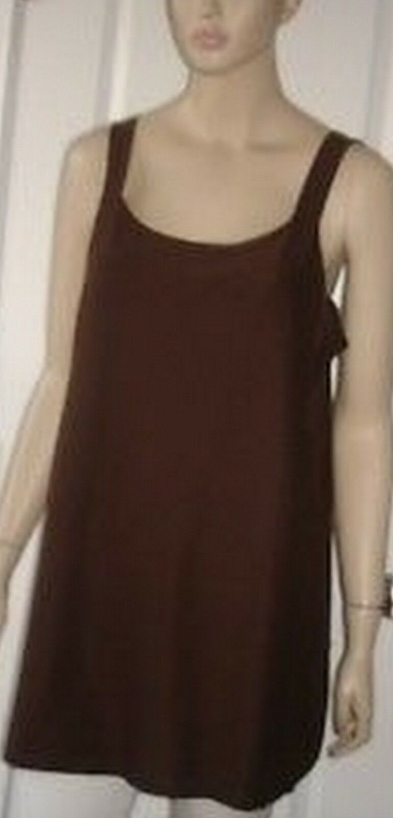 Eileen Fisher Cocoa braun Stretch Crepe Knit Long Tank Shell Top Petite PM