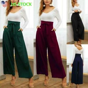 Women-039-s-High-Waist-Loose-Bow-Tie-Trousers-Ladies-Casual-Wide-Leg-Long-Pants-USA