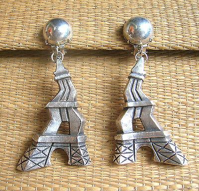 Goed 537 / Frederic Volle / Tour Eiffel / Boucles D'oreille Clips En Resine Argentee
