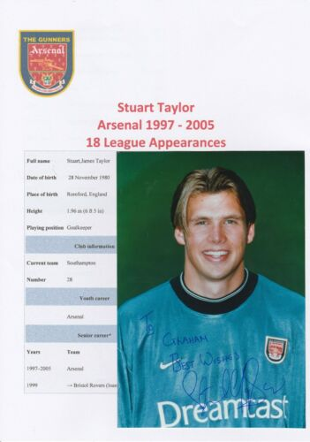 STUART TAYLOR ARSENAL 19972005 ORIGINAL HAND SIGNED OFFICIAL CLUB PHOTOGRAPH