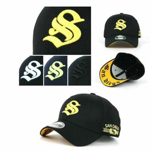 San Diego Initial S Stretch Fit Spandex Herren Mützen Baseball Cap Kappe Hut