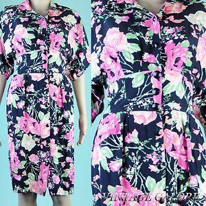 VINTAGE-Black-Floral-Roses-Secretary-pencil-wiggle-avant-garde-day-dress-Sz-S