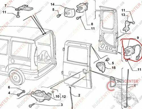 Fiat Doblo Mk1 2000-10 Neu Unten Hintere Türverriegelung Stellmotor Mechanismus