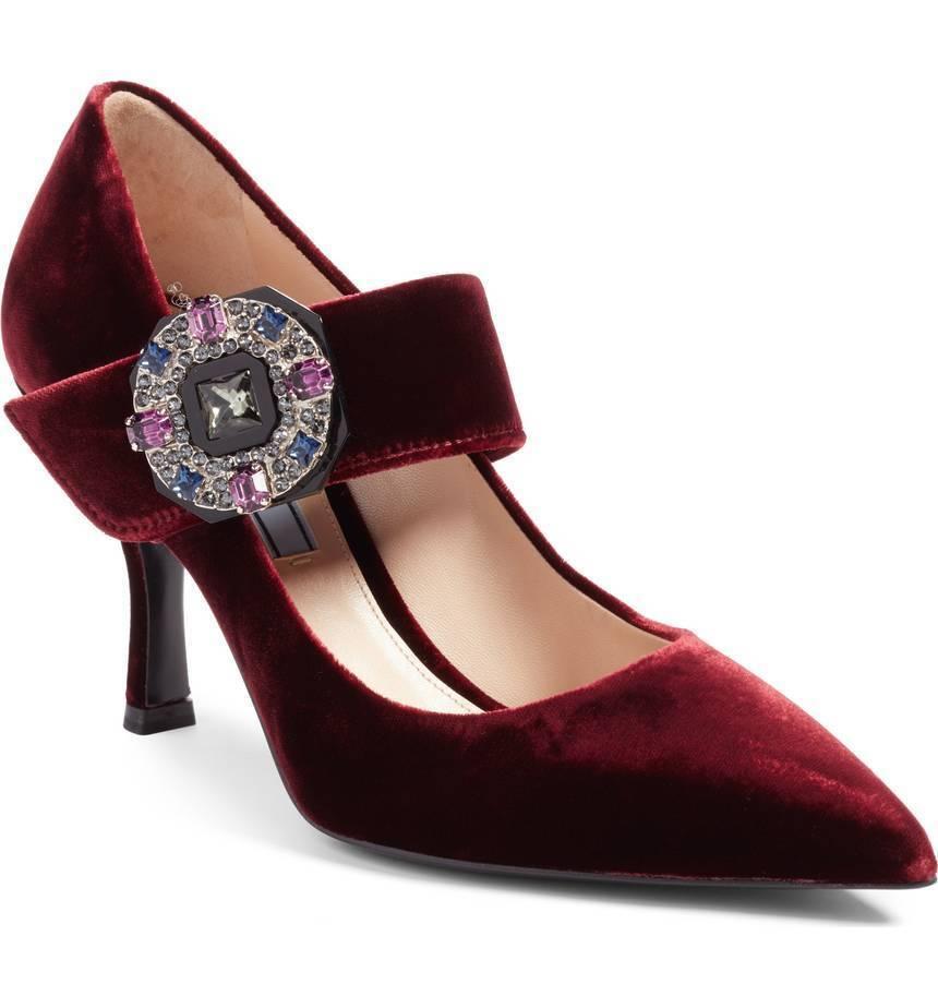NIB PRADA Emellited Mary Jane  Strap Pointy Toe Pump scarpe Borgogna Velvet 39 -9  punto vendita