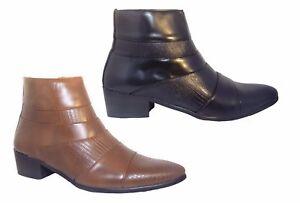 Men-039-s-New-Cuban-Heels-zip-Ankle-Boots-Black-Brown-Size-6-7-8-9-10-11-UK