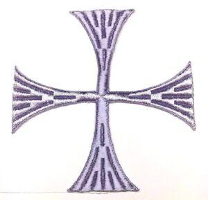 Vintage-Cuadrado-Cruz-6-034-Bordado-para-Coser-Lila-Maltes-Emblema-Parche-2PC