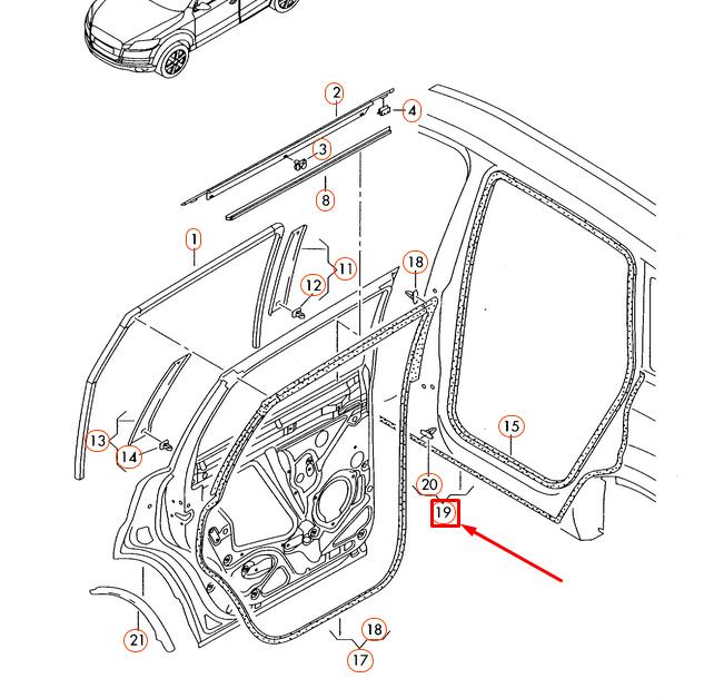 Audi Q7 4L Trasero Izquierdo Juntas para Umbral Panel 4L0839119D Original