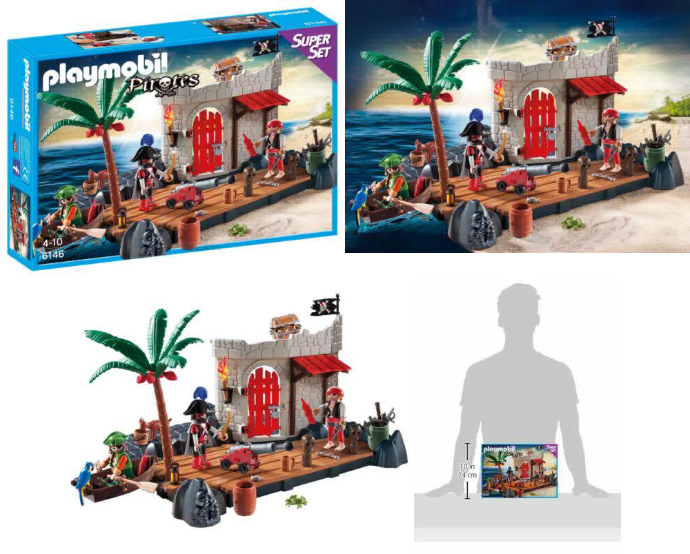 Playmobil 6146 Pirate Fort SuperSet with Floating Rowboat