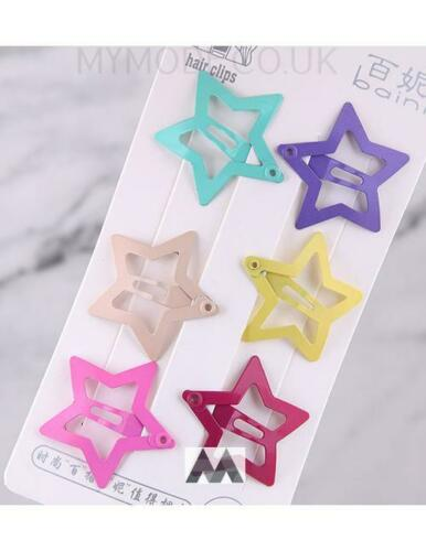 Pack Of 6 Star Colourful hair Clips Hot Fashion Cute Free UK Delivery Jewellery