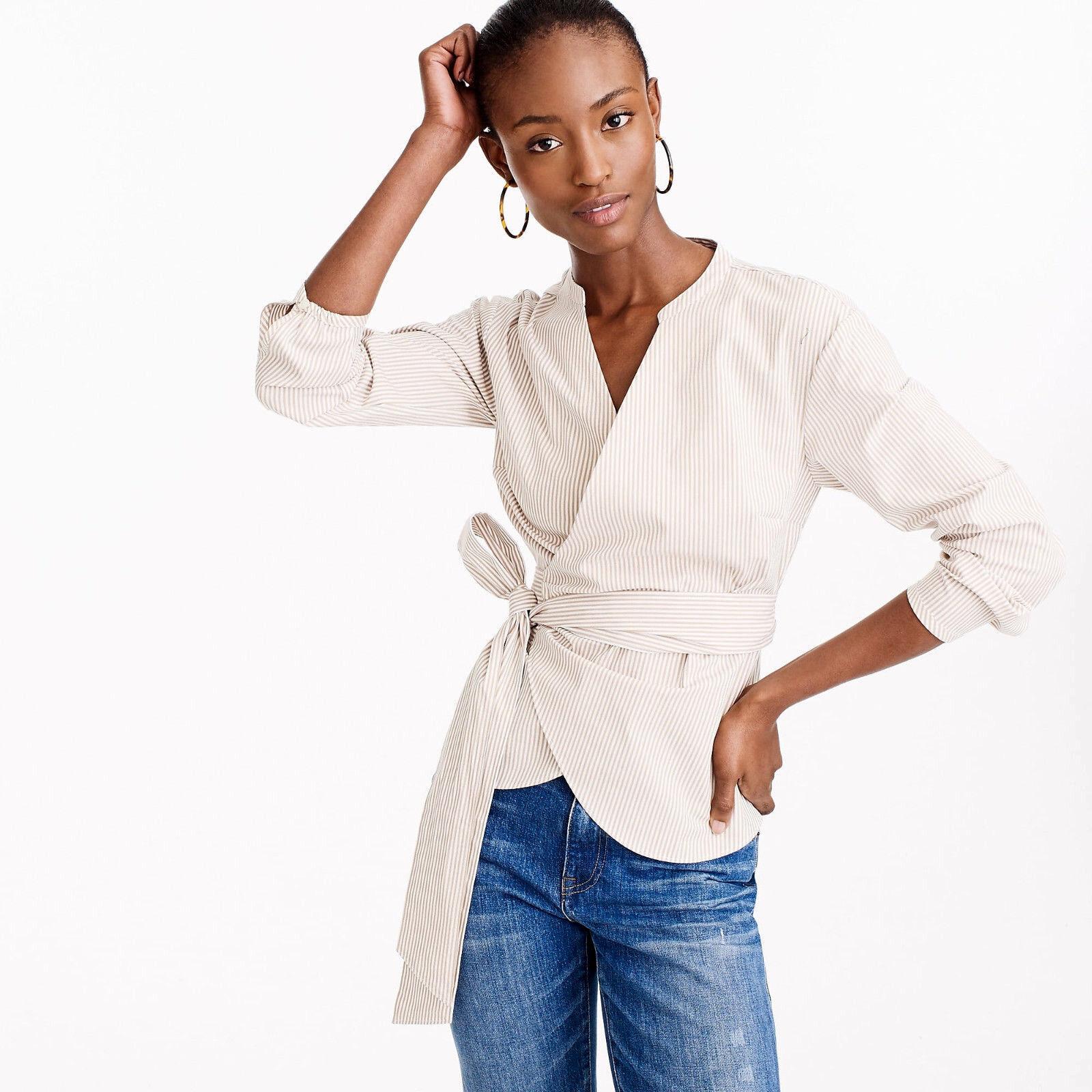 NWT  J.CREW Wrap Shirt Top in Striped Stretch Cotton French Navy Khaki Petite