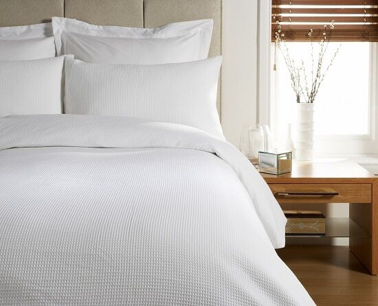 DOUBLE BED SIZE HIGH QUALITY WAFFLE DESIGN DUVET COVER BED SET - WHITE