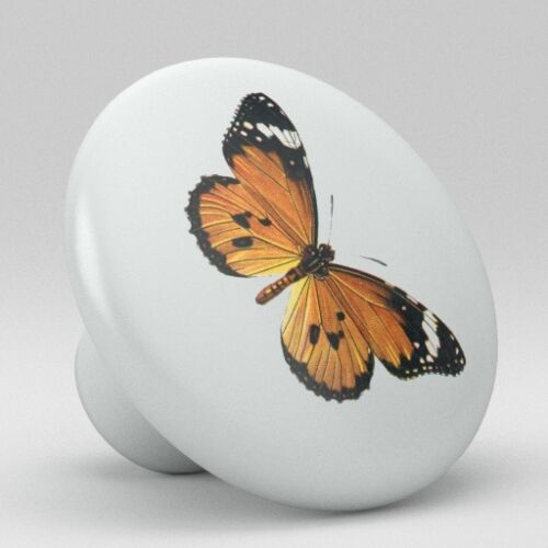 Butterfly Vintage Antique Ceramic knob Pull Kitchen Closet Drawer Handle 1848