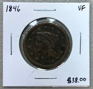 1846 U.S. CORONET HEAD LARGE CENT ~ VF CONDITION! $2.95 MAX SHIPPING! C943